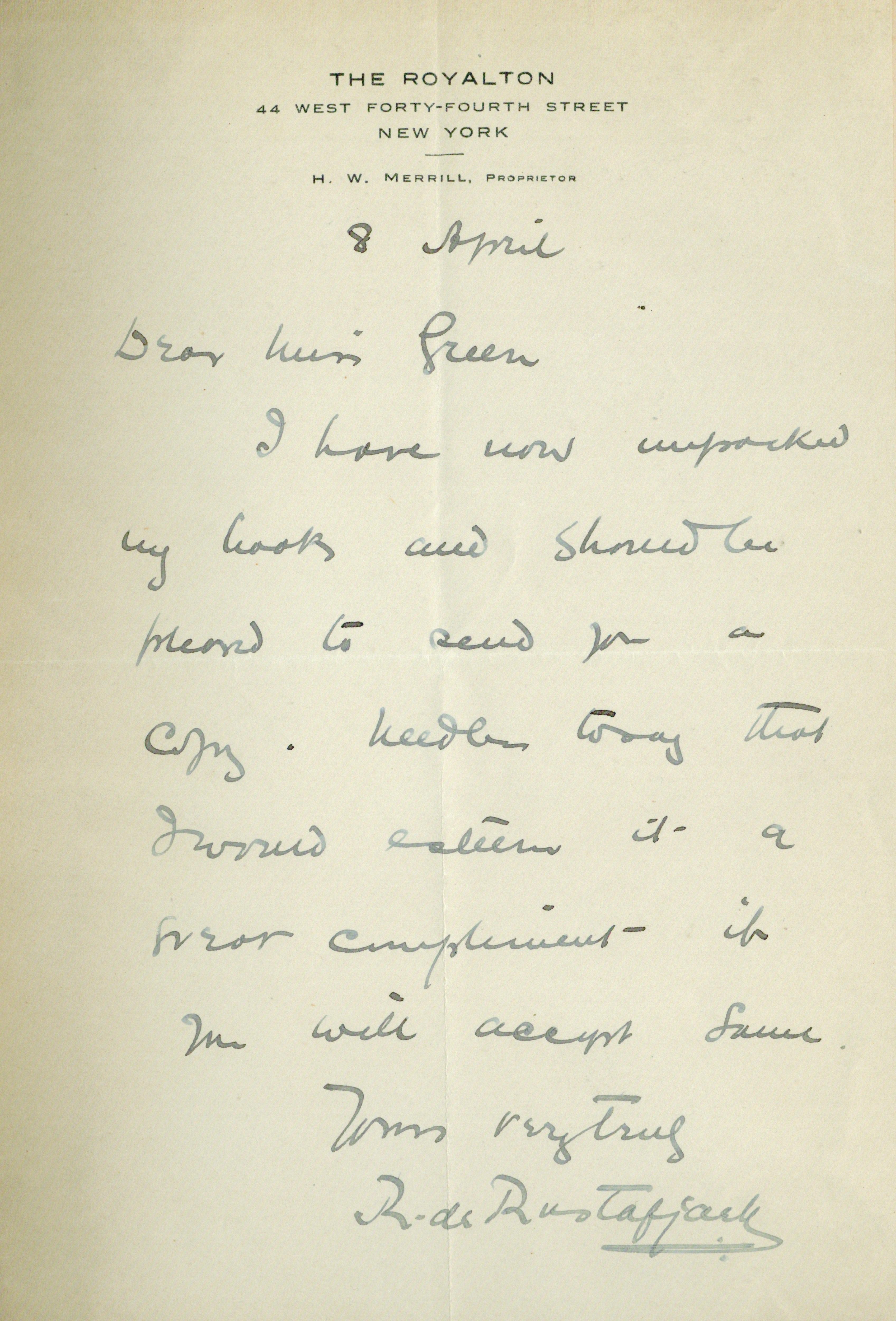A Letter From Colonel Robert De Rustafjaell Alin Suciu